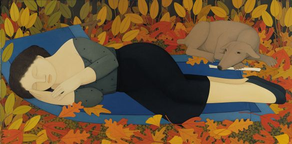 andrew_stevovich_oil_painting_woman_with_autumn_leaves_1994_36-_x_72